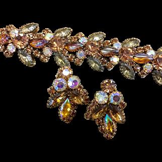 Juliana D & E amber aurora borealis gold colored iridescent stones sawtooth bracelet and earrings