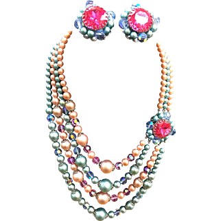 Four Strand crystal and bead pastel necklace and earrings perfect for Easter