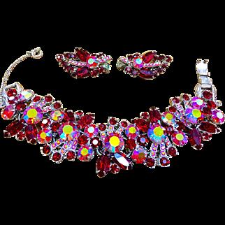 Juliana D & E Red rhinestone bracelet and earrings Book piece