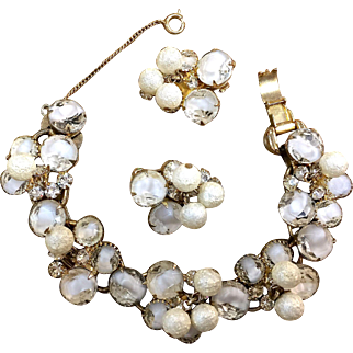 Juliana D & E white and clear rhinestones with sugared beads bracelet and earrings