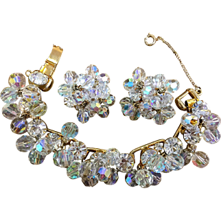 Juliana D & E crystals bracelet and earring cha cha set