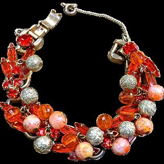 Juliana  & E orange rhinestones sugared beads bracelet