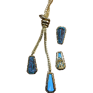 Whiting and Davis Egyptian motif necklace and earrings