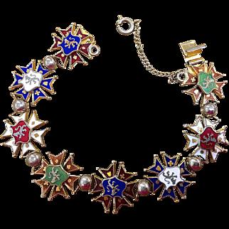 Enamel bracelet with heraldic lions