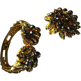 Juliana D & E clamper bracelet and matching brooch amber brown tones