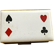 Enameled playing card suits match holder for table