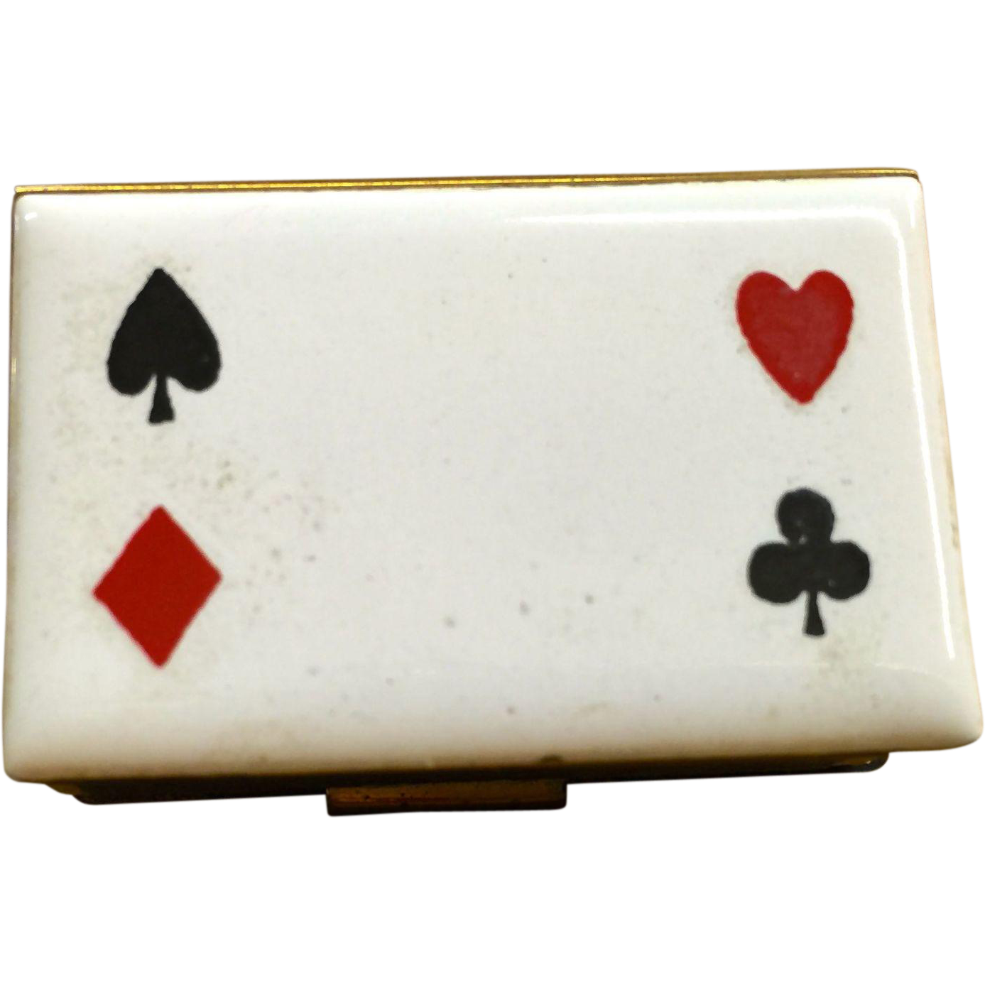 Enameled Playing Card Suits Match Holder For Table From