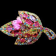Pretty Multi color pastel rhinestone leaf shaped dimensional brooch