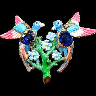 "Plastic birds colorful lightweight 3"" brooch Bridal bouquet"