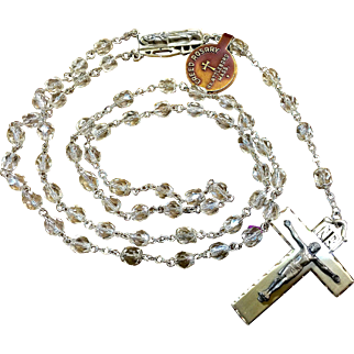 Sterling silver and crystal bead rosary
