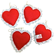 Annalee vintage four felt hearts for Valentine jewelry displays