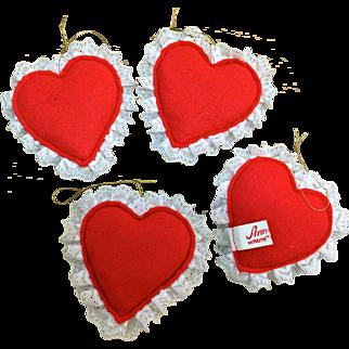 Annalee vintage four felt hearts for Valentine jewelry displays