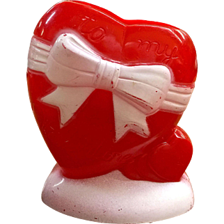 Vintage plastic heart candy container