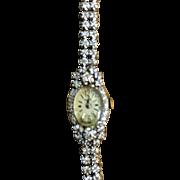 14 Karat white gold marked diamond watch 1960's