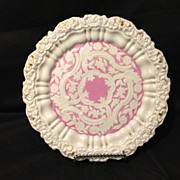 "Meissen Rare roman numeral period floral salmon and gold gilt plate 8.25"" circa 1820s"