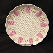 "Meissen shell and basket weave mold plate salmon and gold gilt with rare roman numeral mark 9.25"" circa 1820s"