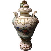"KPM Berlin Rococo gold gilt 18th century 8"" vase with circus theater face handles and Dresden style flowers"