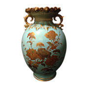 Royal Crown Derby Robin Egg Blue with heavy gold gilt floral design and unique mold circa 1896 for display