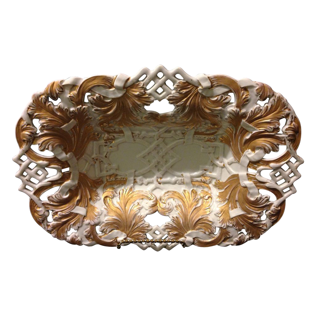 "Meissen First Quality 12.5"" reticulated Rococo bowl with heavy gold gilt in near mint condition circa 1820's"
