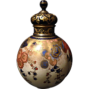 """Royal Crown Derby reticulated covered vase w Imari colors heavy gold gilt and jeweling 9.5"""" w rare internal dust cover"""