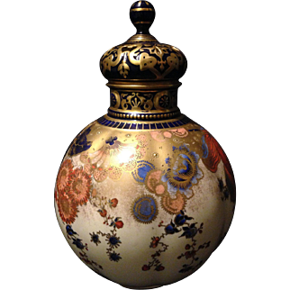 "Royal Crown Derby reticulated covered vase w Imari colors heavy gold gilt and jeweling 9.5"" w rare internal dust cover"
