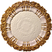 """Meissen early 19th century gold gilt embossed mold 12.5"""" charger tray in excellent condition"""