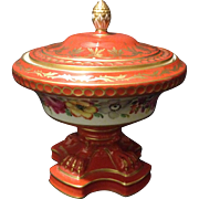 """Carl Thieme Dresden 7"""" Bolted covered Gold gilt urn vase w Iron oxide Red glaze and Flowers"""