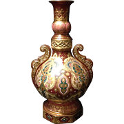 """Royal Crown Derby 12"""" Moorish style reticulated and jeweled vase with amazing detail circa 1899 Very Near Mint"""