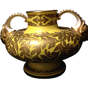 """Royal Crown Derby yellow glaze and golden birds and butterflies vase 3.5"""" circa last quarter 19th century"""