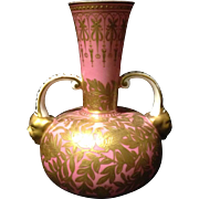 """Royal Crown Derby Salmon Pink double head vase w Golden Birds of Paradise and flowers 6"""" circa last quarter of 19th century"""