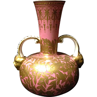 "Royal Crown Derby Salmon Pink double head vase w Golden Birds of Paradise and flowers 6"" circa last quarter of 19th century"