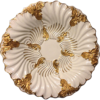 "Meissen First Quality Rococo Cattail and Waves gold gilt 11"" Oyster charger bowl circa 1850's"