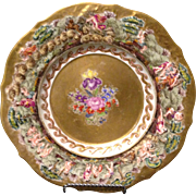 "19th century Marked Capodimonte 9.75"" plate w Flowers Gold gilt and Putti Cherubs"