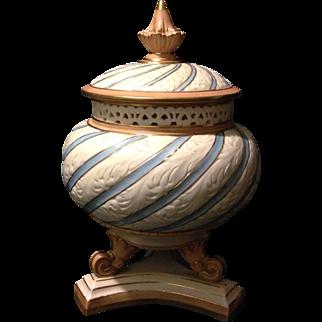 "Locke Worcester Blush Blue 9.5"" Incised Reticulated Covered Potpourri Jar vase"