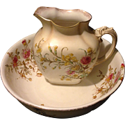 Royal Doulton Burslem Victorian Era Floral Serpent handle Pitcher and Wash Bowl