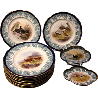Royal Worcester Vitreous 14 piece Flow Blue Game Bird Set Artist George Johnson