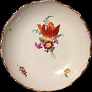 "Marcolini Meissen 1st Quality Floral Tulip 8"" bowl w Gold gilt rim 18th Century"