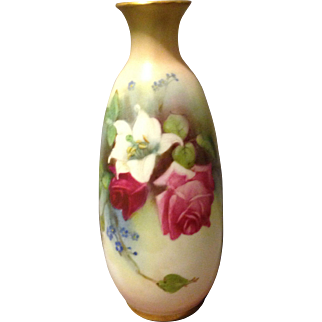 "Royal Worcester 5.75"" Hadley Hadley's Rose and Peace Lily w Flag Mark Vase Mold 2491 156-54 2 circa 1913 Rare"