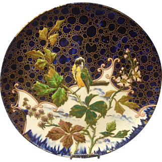 "French Longchamp Majolica 14.5"" Wall Charger Tray Cobalt Glaze Bird on Branch"