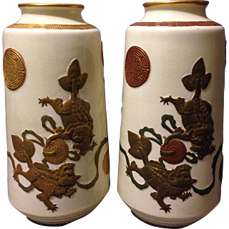 "Pair of 19th century Royal Worcester Aesthetic Chinoiserie Shi Shi Dogs of Foo 10"" vases attributed to James Hadley"