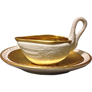 Napoleonic French Sevres circa 1808 Golden Bisque Swan Chocolate Cup and Liner Set