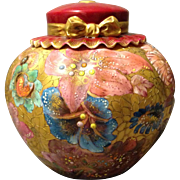 Royal Crown Derby Jeweled Gold Gilt Floral on Red Vase w Rare Hat Bonnet Cover Circa 1888