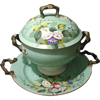 Vista Alegre Portugal Porcelain Mint Green HP Floral and Bird Tureen with Under Tray and Branch style Handles