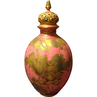 "Royal Crown Derby 14.5"" Coverd Vase Potpourri with Pink Salmon Glaze and Gold Gilt Flowers"