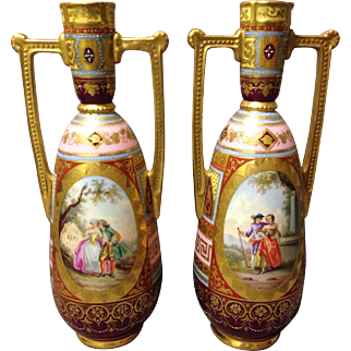 "Pair of Courting Couple Bucolic Ackermann Fritz Germany Royal Vienna Marked 10.5"" Vases"