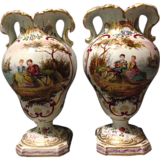Pair of 18th Century Scenic Faience Hochst Germany Vases w Courting Couples Very Rare Find
