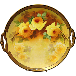 "Mavaleix Coronet Limoges Alfred Bronssillon 11"" Dessert Tray Yellow Roses and Gold gilt"
