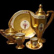 Pickard Artists Signed Vobor & Richter Rose Basket Tea Coffee Set plus Dessert Tray