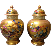 "Pair of Helena Wolfsohn 19th Century Dresden Gold Washed 10.5"" Covered Vases Urns w Colorful Birds"