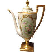 Lenox Belleek USA Coffee Pot w Dogwoods and Heavy Gold Gilt Beading Stunning